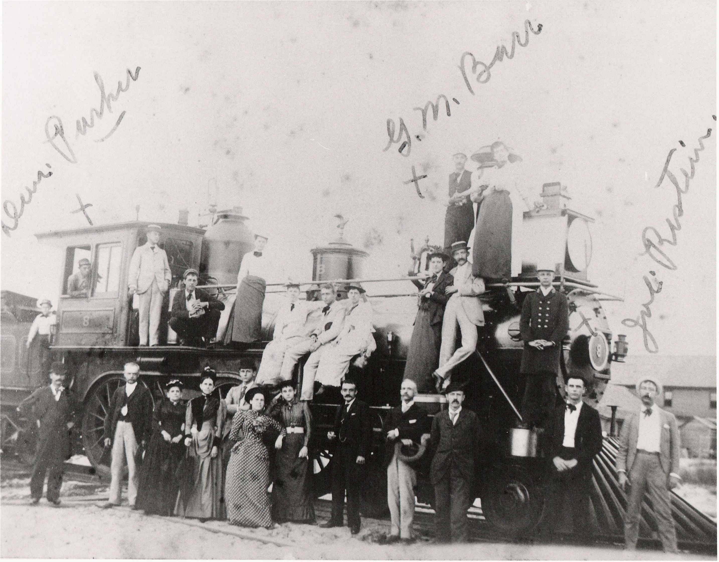 Crew of First New York, Philadelphia and Norfolk Locomotive, 1884